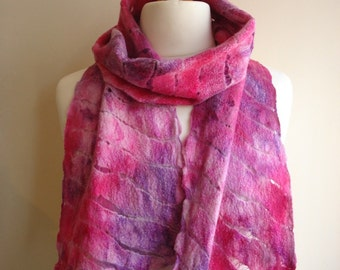 felted spring scarf - lightweight scarf - pink nuno felted scarf - wool felt scarf - felt art to wear - birthday gift for her - cotton scarf