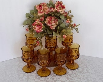 Amber Water Goblets, Indiana Glass Goblets, Stemware, Barware, Vintage Colored Glass, Kitchen and Dining, Gift Giving