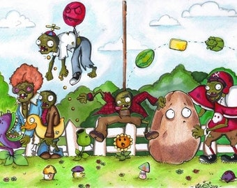 Plants vs Zombies Fan art Print