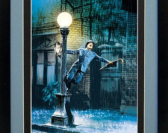 Gene Kelly Singing In The Rain Lamp Post Movie Poster Custom Framed 18x21 inch