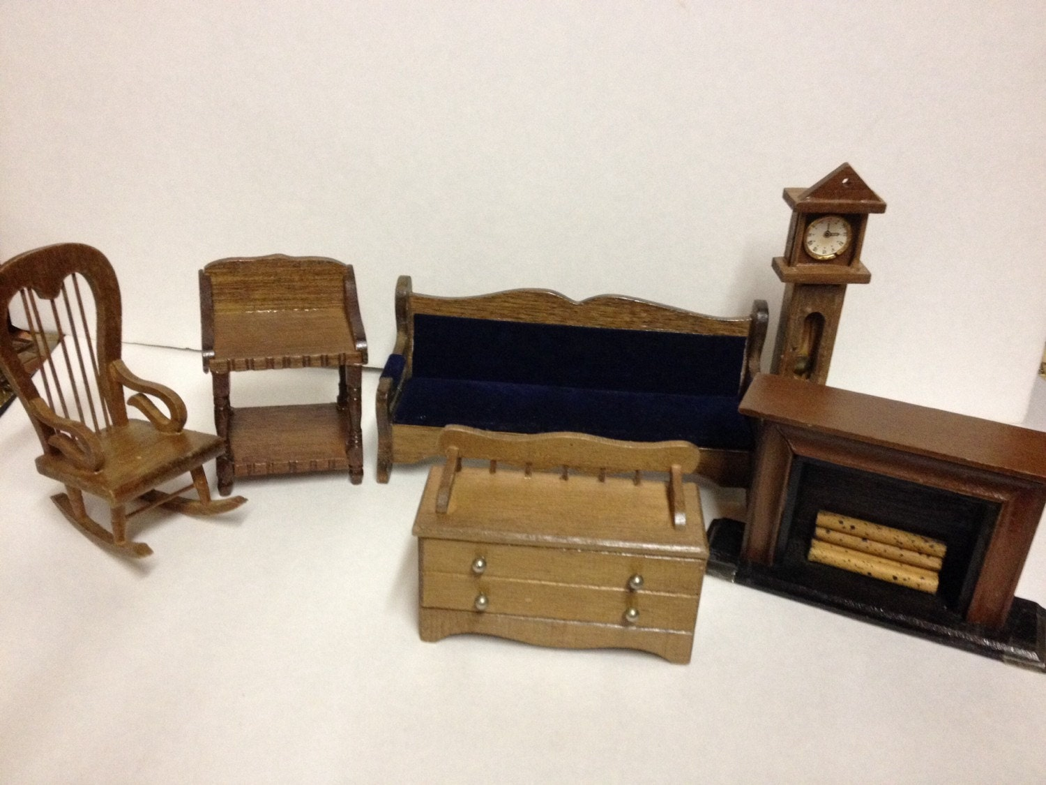 Vintage 6 pieces wooden dollhouse furniture living room for 70s living room furniture
