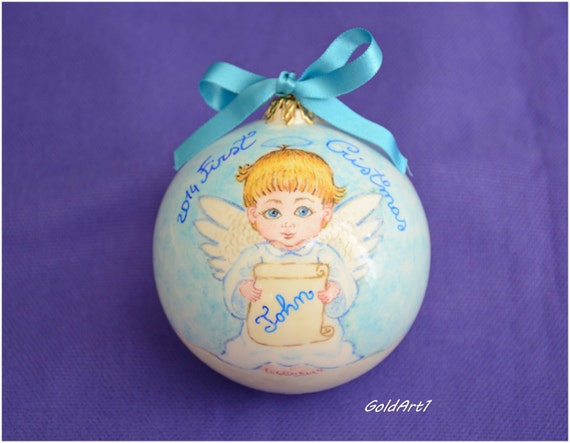 hand painted angel bauble ceramic christmas by goldart1 on