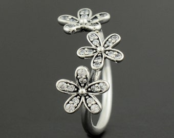 new  Authentic Genuine Pandora Silver Dazzling Daisies Ring - Size 54 - 190933CZ-54 NEW