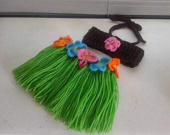 Crochet Luau Grass Skirt and Halter Bikini Top Set