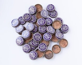 45 Old Silco Grape Soda Bottle Caps - Cork Lined Bottle Cap - Crafts, Crafting Supplies / Supply or Collectible Decor - Free Shipping