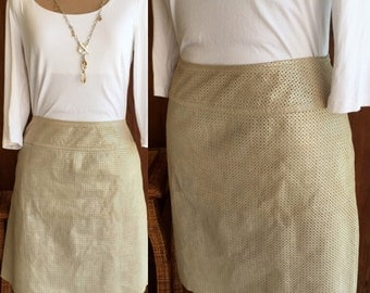 Vintage Gray/Silver Perforated Leather Skirt  Size 10