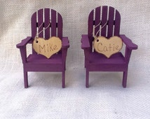 Beach chair cake topper-Adirondack chair cake topper color plum/Personalize wedding cake topper- custom wedding cake topper-fall colors