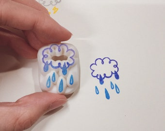 rainy hand carved rubber stamp.cloud rubber stamp.sky rubber stamp.