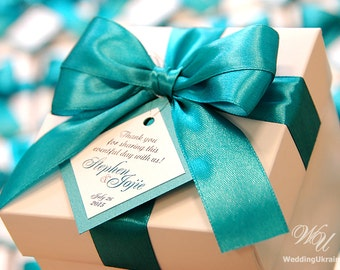 20 Custom Wedding Guest Boxes with bow and tag - Wedding Welcome Guest Box - Bridal Shower boxes - Wedding Shower - Blue satin