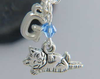 Silver Cat Necklace, Cat Jewelry, Cat Pendant, Cat Charms, Personalized Necklace Chose Your Colors