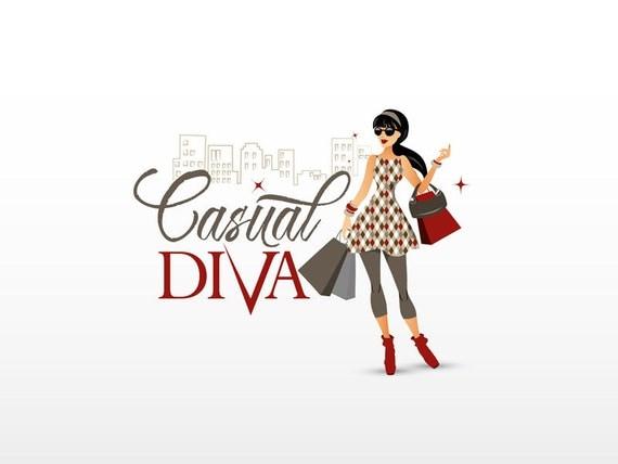 premade fashion logo design woman illustration casual