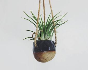 Pebble Hanging Air Planter - Black