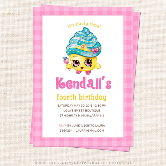 Items similar to Shopkins Birthday Party Invitation | Queen ...