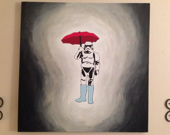 READY TO SHIP Star Wars Stormtrooper Umbrella with Rain Boots Pop Art Canvas Painting 24x24
