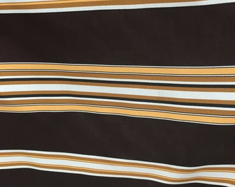 """Dark Brown / Blue Polyester/ Gold Stripe Home Decor Fabric (Sold By The Yard) -58"""""""
