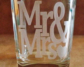 Pair of Mr and Mrs Square Shot Glasses Sand Carved for a deep etch - Wedding Couple Gifts