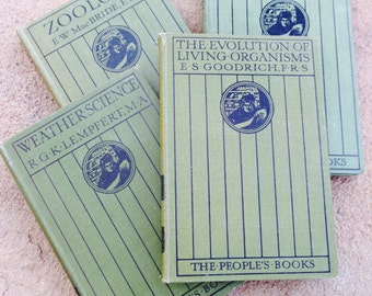 Zoology, Biology, Weather Science and The Evolution of Living Organisms-4 Beautiful Antique Books