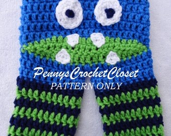 PATTERN ONLY crochet monster pants, pattern includes sizes Newborn, 0-3 months, 3-6 months, 6-12 months, 12-18 months, 2T & 3T