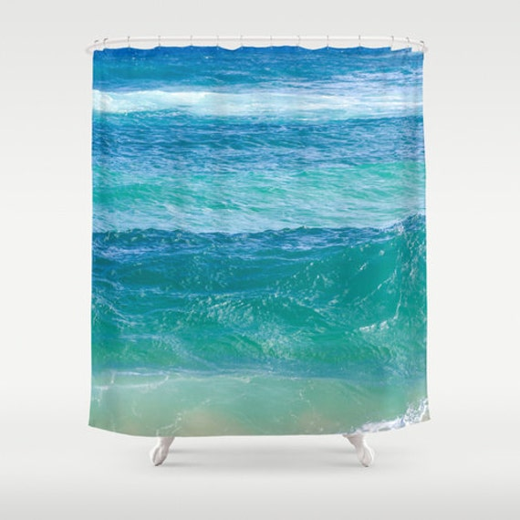 Deep ocean Shower Curtain - turquoise shower curtain - teal turquoise ...