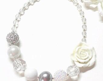 Platinum Silver Wedding Flower Girl Necklace