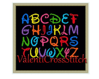 DISNEY Cross Stitch Pattern,Alphabet, Counted Cross Stitch Patterns,