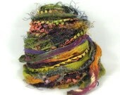 Oasis Elements 26yds, Bohemian Textile Fiber Art Yarn Embellishment Trim Specialty Ribbon Bundle, Sage Rust Plum Peach, Buy Any 6 Get 1 Free