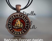 Triple Horn of Odin Pendant Copper or Bronze with Leather Cord