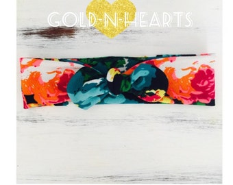 Bright floral knotted bow headband
