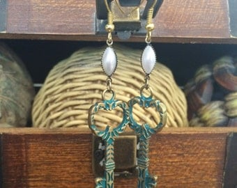 Antique Style Key and Pearl Dangle Earrings