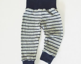 Heather Gray & Black Striped Baby/Toddler Leggings