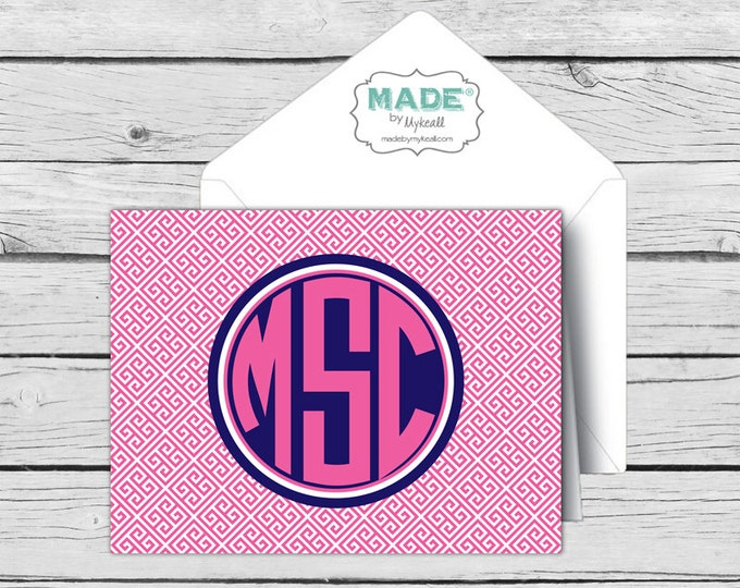 GREEK KEY Circle MONOGRAM Note Card Set 2, Made-to-Match Cards, Printed Thank You Cards, Stationery, Younique