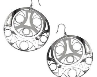 Large Aztec 3D Silver earrings
