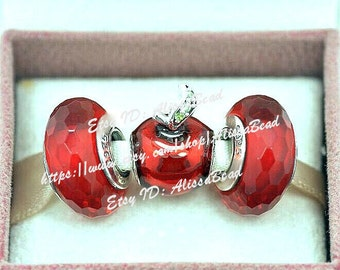 NEW 925 Sterling Silver Snow White's Apple Charm Beads And Faceted Murano Glass beads Set with Charm Box Fit European Bracelet --Gift Set