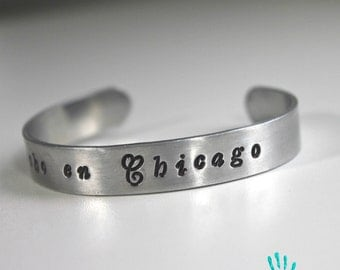 Made in Chicago {hand stamped thin cuff bracelet}