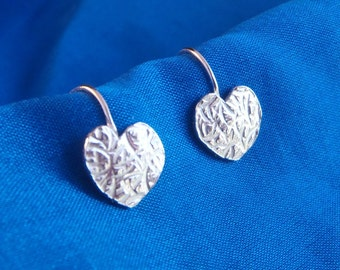 Sterling silver hand made small textured heart earrings