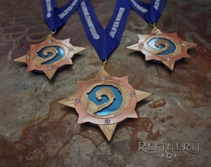HearthStone inspired FireSide Gathering Championship Medals made from Brass & Copper set of Three