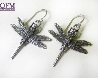 1 pair Sterling Silver 925 Earrings Big Dragon Fly, Antique Silver