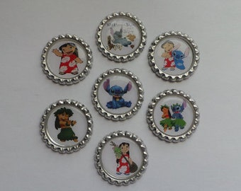 Disney Lilo & Stitch Set of 7 Finished Bottle Caps - Magnets - Necklaces