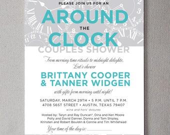 Around the Clock Couple's Shower PRINTABLE Invitation