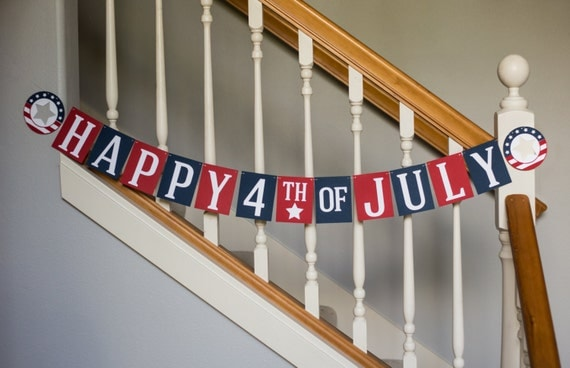 Happy Fourth of July banner, red, white and blue, patriotic banner