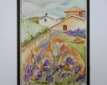 Lavender painting, lavender flowers, original watercolor, Provence France. .