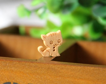 15 pieces wood Button,cat pattern wood button,button for child,15 mm x 25mm(200D34)