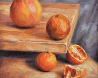 Original Still Life Oil Painting of Oranges, 'Phases', Framed