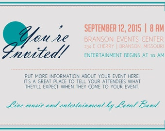 Coral & Teal Theme Customizable Invitation Digital Printable   any color, any event