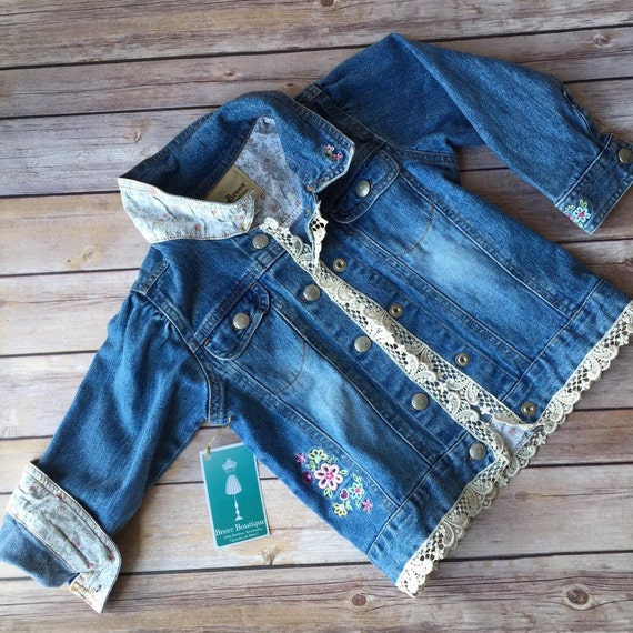 Upcycled Denim Jacket with vintage lace Size 3T