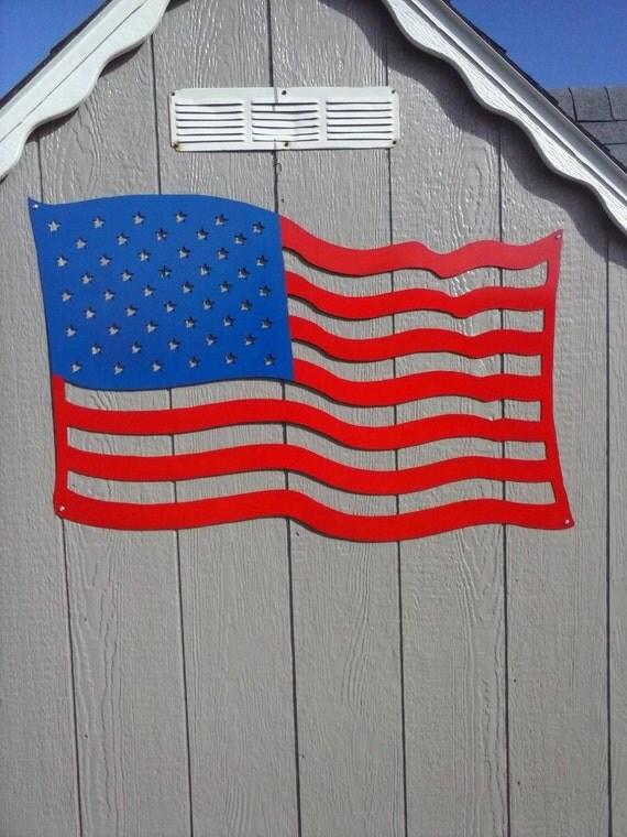 American Flag Waving Metal Art / Patriotic USA Flag Sign