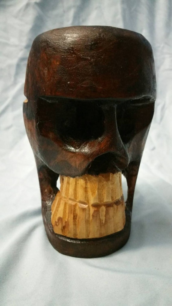 Vintage wooden hand carved skull by mcvintagedecor on etsy