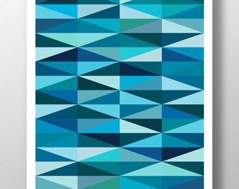 Digital Download Art, Blue Art Print, Blue Wall Art, Blue Artwork, Light Blue Art, Modern Art Poster, Geometric Art Print, Diamond Art Print