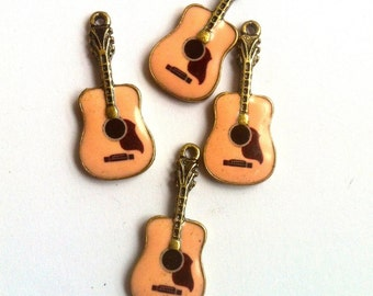 Pink Guitar Rockabilly Enamel Charms 4pcs