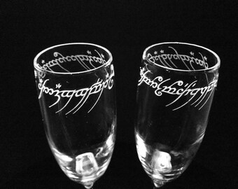 Lord of the Rings Etched Flute Set of Two - Champagne Glasses -Black Speech Inscription
